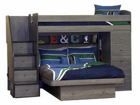 22-816 Twin/Full Loft Bed with Chest and 4-Stairs