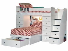 22-827 Twin/Twin Loft Bed with 2-Chests, Platform Bed, 4-Stairs