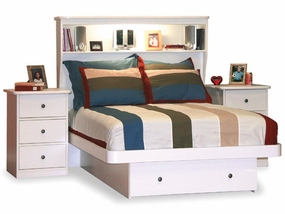 22-87 Full Platform Bed with Front Drawer and Bookcase Headboard