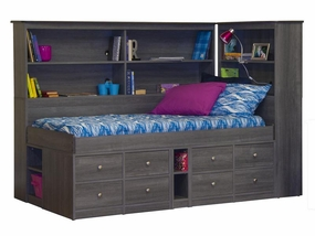 22-950/95A/94 Jr Captain Bed with Back Bookcase and Bookcase Headboard
