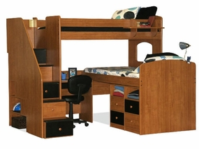 23-766 Bifecta Twin/Twin High Loft Bed with 5-Stairs