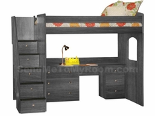 23-835-83A Utica High Dorm Loft Bed with 5-Stairs, Desk and Drawers