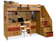 23-835-83A-B Utica Deluxe High Dorm Loft with Desk, Cork, Shelves & 5-Stairs