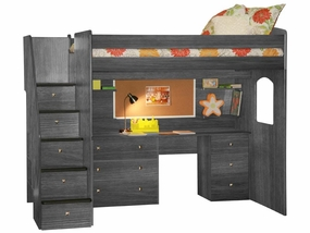 23-905-83A-B Deluxe Full High Loft with Desk, Cork, Shelves & 5-Stairs