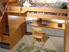 23-905 Utica High Loft Bed with 5-Stairs shown with optional Desk Top