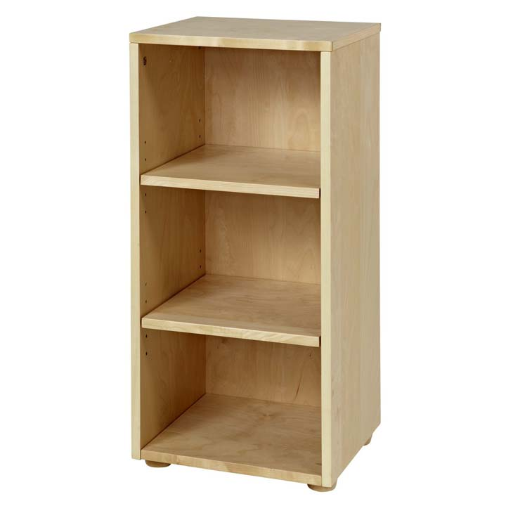 Natural birch narrow 3 shelf bookcase furniture and bookcases