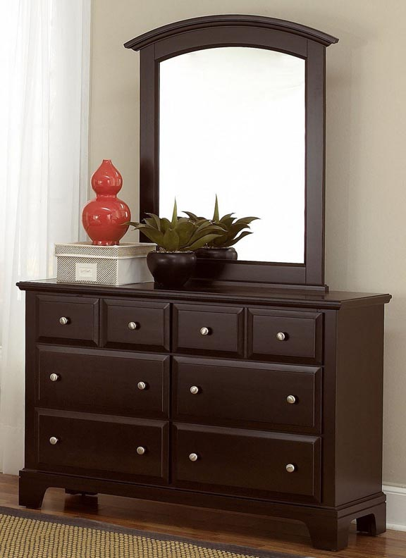 Hamlet 6 Drawer Dresser shown with optional Mirror in Merlot