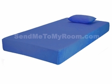 "7"" Memory Foam Mattress with Blue Cover and Small Pillow"