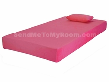 "7"" Memory Foam Mattress with Pink Cover and Small Pillow"