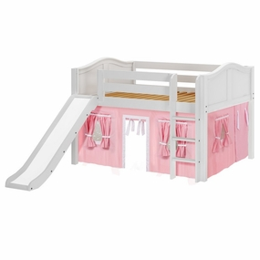 Amazing 23NT Full Low Loft Bed with Slide, Straight Ladder and Curtain