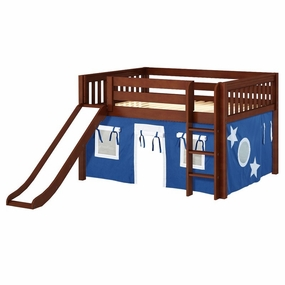 Amazing 22NT Full Low Loft Bed with Slide, Straight Ladder and Curtain
