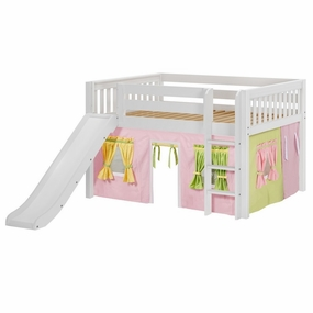 Amazing 25NT Full Low Loft Bed with Slide, Straight Ladder and Curtain