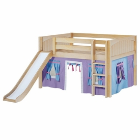 Amazing 27NT Full Low Loft Bed with Slide, Straight Ladder and Curtain