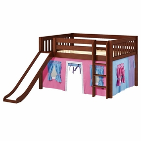 Amazing 28NT Full Low Loft Bed with Slide, Straight Ladder and Curtain