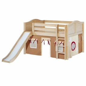 Amazing 30NT Full Low Loft Bed with Slide, Straight Ladder and Curtain