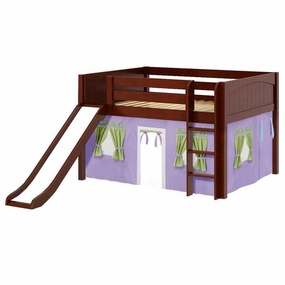 Amazing 75NT Full Low Loft Bed with Slide, Straight Ladder and Curtain