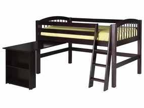 Arch Spindle Low Loft Bed with Retractable Desk in Cappuccino