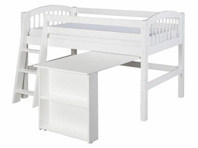 Arch Spindle Low Loft Bed with Retractable Desk in White