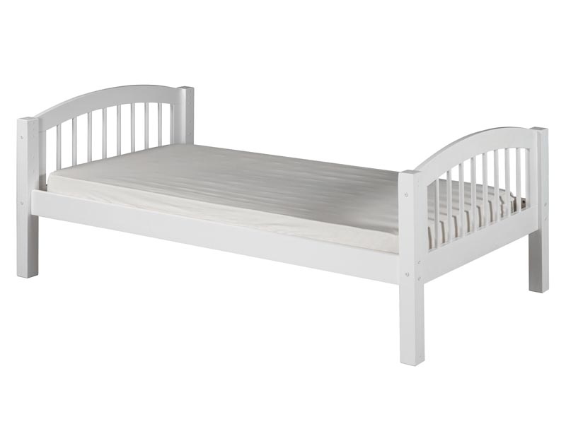 arch spindle twin platform bed in white