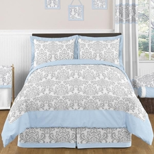 Avery Blue and Gray Comforter Set