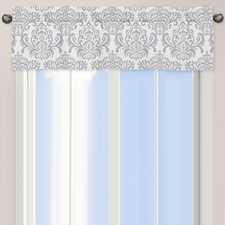 Avery Gray and White Damask Print Valance