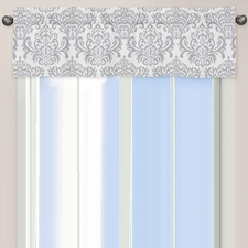 Avery Gray & White Damask Print Valance