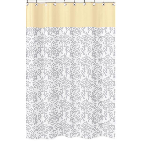 Curtains Ideas gray and orange shower curtain : ... Designs Avery Yellow and Gray Fabric Shower Curtain - Shower Curtains