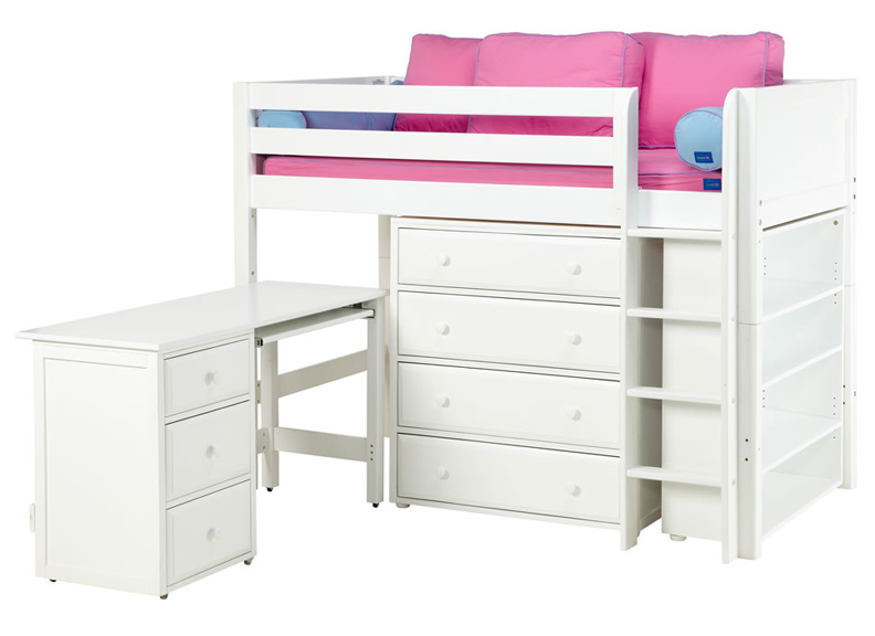 Maxtrix Bling 3 Twin Mid-Height Storage Loft Bed with Desk - Loft Beds