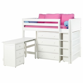 Bling 3 Twin Mid-Height Storage Loft Bed with Desk and Straight Ladder