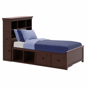 Boston 2 Twin Bed with Drawer and Cubbies in Espresso