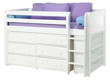 Box 2 Twin Low Loft Storage Bed with Straight Ladder
