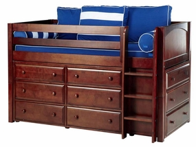 Box Twin Low Loft Storage Bed with Straight Ladder