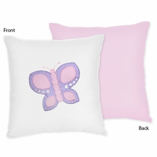 Butterfly Pink and Lavender Reversible Throw Pillow