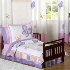 Butterfly Pink & Lavender 5-piece Toddler Bedding Set