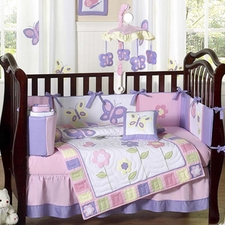 Butterfly Pink & Lavender 9-piece Crib Bedding Set