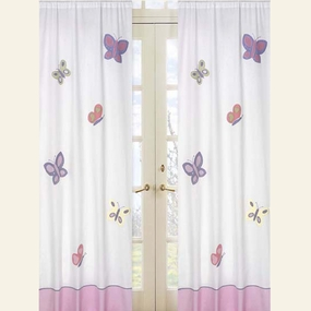 Butterfly Pink & Lavender Window Curtain Panels