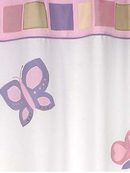 Butterfly Pink & Lavender Fabric Shower Curtain