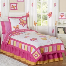 Butterfly Pink & Orange Comforter Set