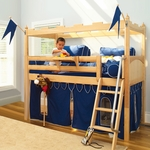 Camelot 1 Twin Low Loft Bed with Straight Ladder and Castle Curtain