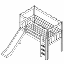 Camelot 4 Twin Low Loft Slide Bed with Straight Ladder