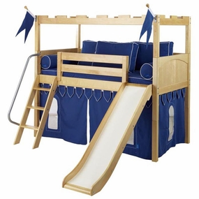 Camelot 7 Twin Low Loft Slide Bed with Angled Ladder and Curtain