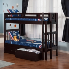 Cascade Twin/Twin Bunk Bed with 2 Drawers in Espresso