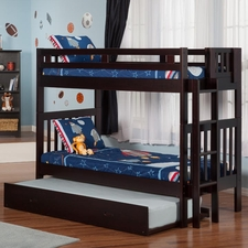 Cascade Twin/Twin Bunk Bed with Trundle in Espresso