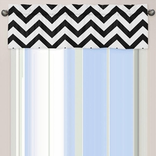 Chevron Black and White Window Valance