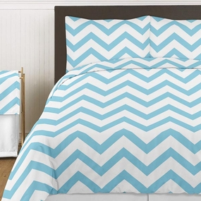 Chevron Blue & White Bedding Collection