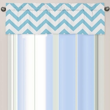 Chevron Blue and White Window Valance