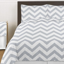 Chevron Gray and White Comforter Set