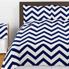 Chevron Navy and White Comforter Set