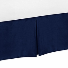 Chevron Navy and White Solid Navy Bed Skirt