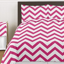 Chevron Pink and White Comforter Set